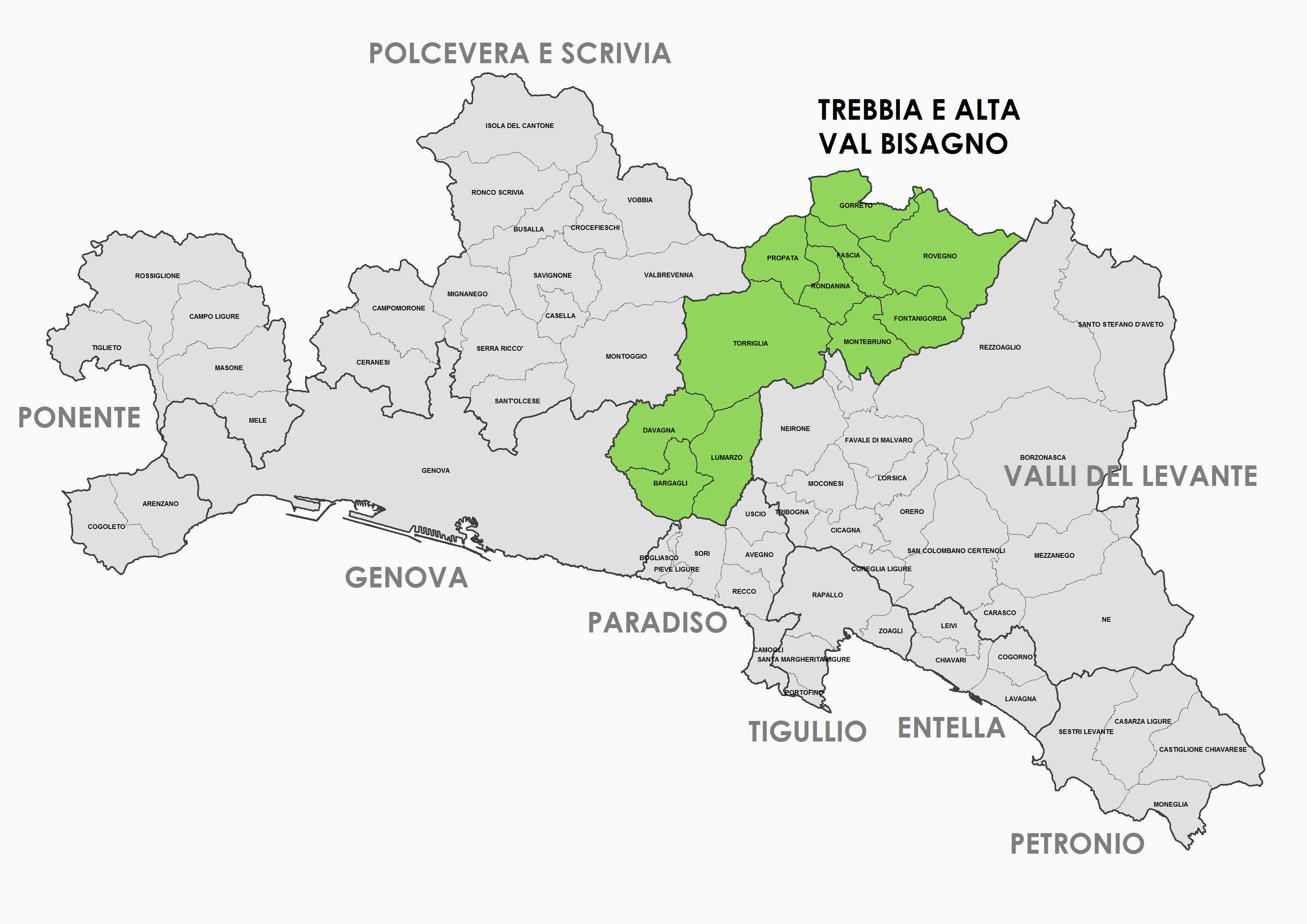 Zona Omogenea - Trebbia e alta val Bisagno - Comuni