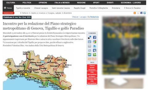 Incontro per la redazione del Piano strategico metropolitano di Genova, Tigullio e golfo Paradiso