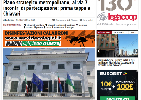 Piano strategico metropolitano, al via 7 incontri di partecipazione: prima tappa a Chiavari